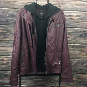 Guess Burgundy Faux Leather Moto Jacket Coat M